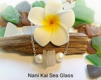 Hawaiian white sea glass and freshwater pearl necklace