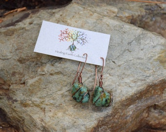 Beautiful copper wrapped Turquoise earrings