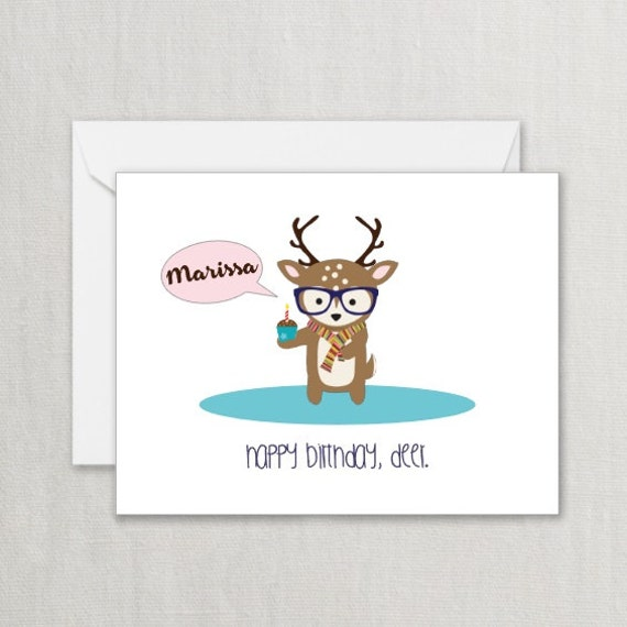 Items similar to Hipster deer printed Birthday Card with a – Hipster Birthday Cards