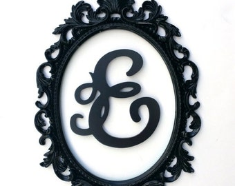 On Sale Baroque Frame, Scatter Frame, Nursery Frame, Oval Baroque Open Back Frame with Custom Letter, Letter E, Gallery Wall