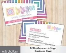LulaRoe Business Card, Geometric Logo, LuLaRoe Marketing Kit, Double-Sided Customizable Business Card, Business Card Design, PRINTABLE