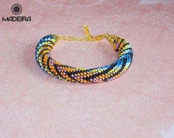 Bracelet harness beaded bohemian style, Cuff bracelet, bead bracelet, Juicy bracelet in berry colors
