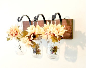 Hanging Mason Jar Wall Sconce Rustic Shabby Chic Mason Jar Decor Candle Holder Wedding Decor Flower Decor