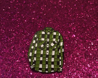 Green Flannel Enamel Pin