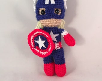 Captain America Amigurumi Figure Doll with Shield