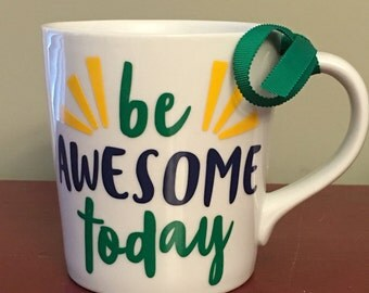 Fun, Encouraging, Colorful Mug-Be Awesome Today-16 oz, Nice Quality-Great Gift for Friend, Coworker, Self, Spouse, Just Because