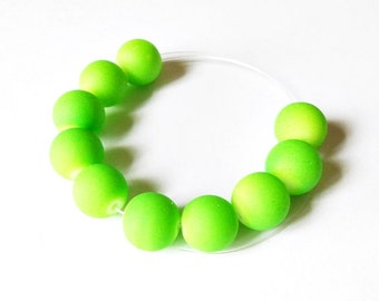 Neon green beads. 10 pcs. 12mm. Neon colors. Necklace beads. Bracelet beads. Summer beads. Round beads.