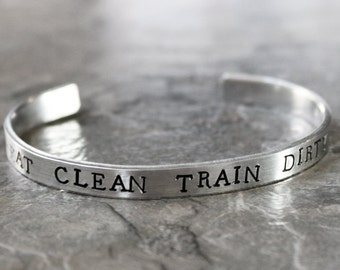 Eat Clean Train Dirty Bracelet, Fitness Cuff Bracelet Motivational Jewelry Healthy Eating Strong Gym workout bracelet Cardio Jewelry