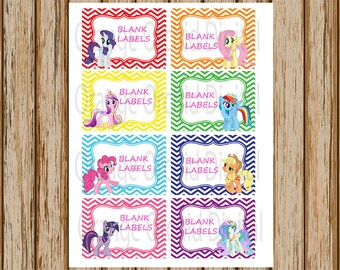 INSTANT DOWNLOAD- My Little Pony Labels- 8 Pack- Blank Buffet Labels-Treat Bag Labels-Stickers- 8.5 x 11 size- Print Your Own- Digital Image
