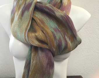 Hand-dyed, handwoven gold, purple, teal, and turquoise scarf/wrap -TFS2