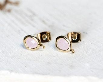2103_1_Gold plated earring hook6x9mm,Oval earring hook with crystal inside,Post earring,Golden components,Earring findings,Hook for earrings