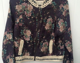floral print jacket with knit detail