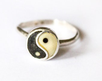 Silver Ring with Enamel Yin Yang symbol, Signed CORO