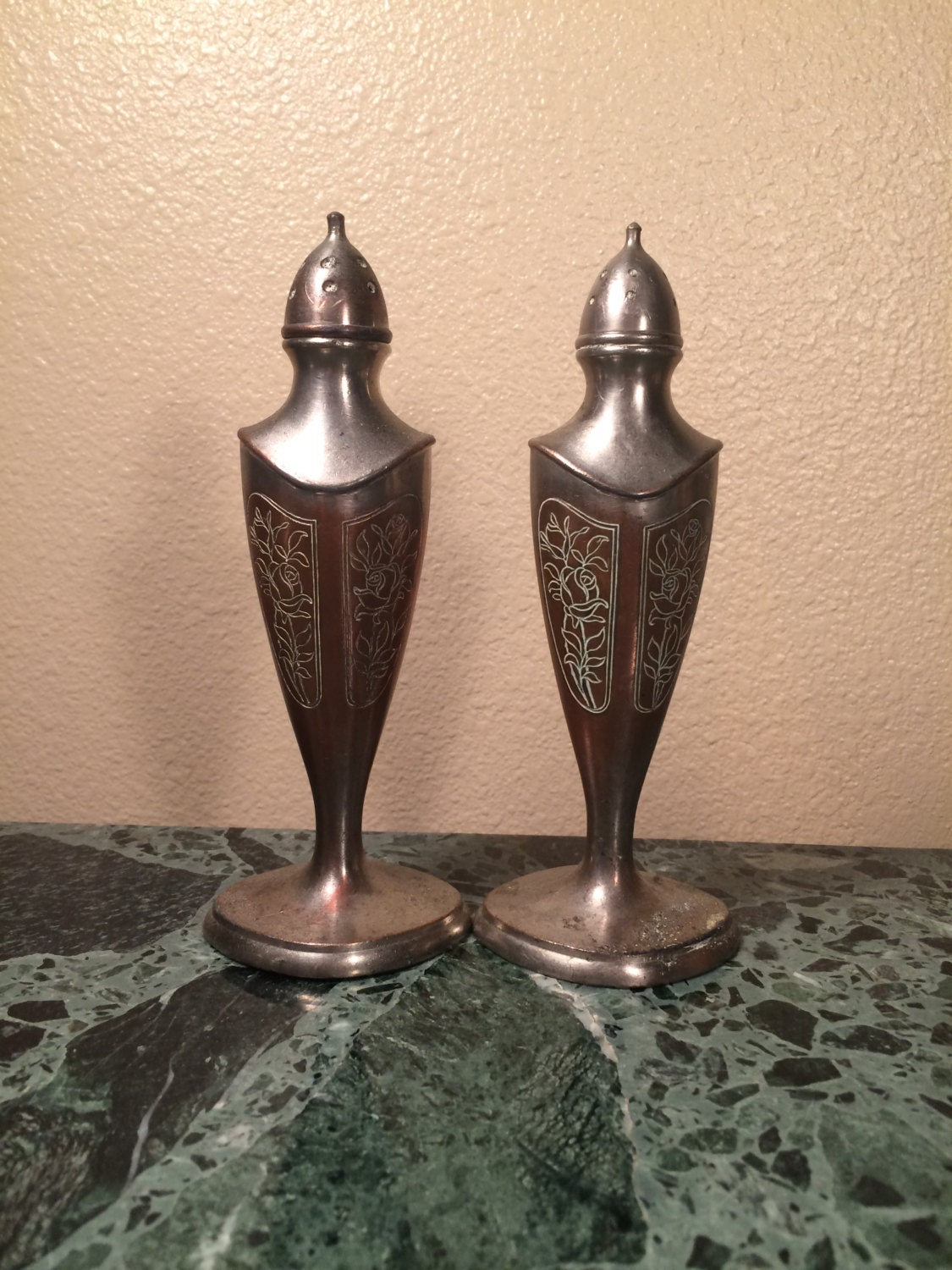 Art Nouveau Silver Plate Salt And Pepper Shakers Etched Design