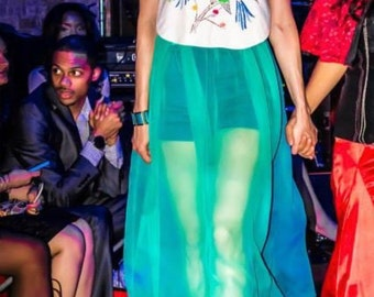 Imported Teal Silk Iridescent Chiffon Skirt and added Gaudet Train in Center Back with Teal Satin Waistband