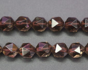 Faceted Smoky Quartz Beads, Natural and Faceted Smoky Crystal Quartz Beads,6mm 8 mm 10mm 12mm, 15 inch strands