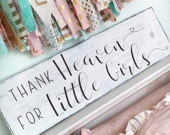 Thank heaven for little girls sign, Little girls sign, Girl's nursery sign, Rustic Nursery sign, Nursery wall art, Baby shower gift