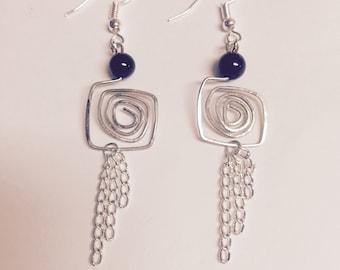 Red Garnet Geometric Silver Wire Dangling Earrings