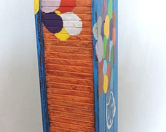 Black cat white cat upcycled wooden cd storage rack, colourful cd holder, cd  organizer, shabby chic wooden rack,funky colourful furniture