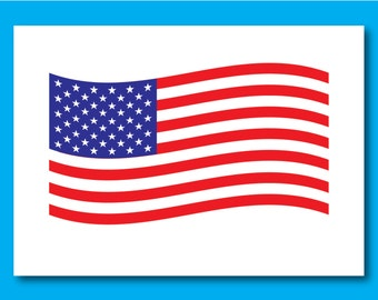 Stars and Stripes, Blank Greeting Cards, Old Glory, Free Shipping, 1 or 2 Cards of the American Flag, Blank Greeting Cards