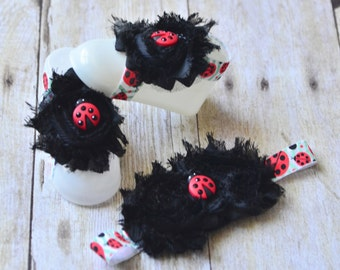 Newborn lady bug barefoot sandals/headband set