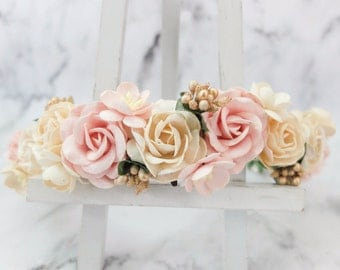 Ivory blush gold flower crown - wedding floral hair wreath - flower headpiece - flower hair accessories for girls