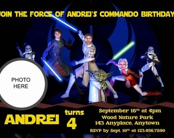 Star Wars Birthday Invitation. Star Wars Invitations. Star Wars Digital Invitation. With or Without photo. Digital (you print)