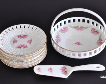 RVR Max Roesler Bowl Cake Server German Vintage Porcelain Crockery Dish Dinnerware