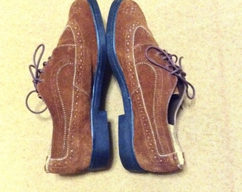 Size 8 suede brogues. Durable brown leather oxford shoes