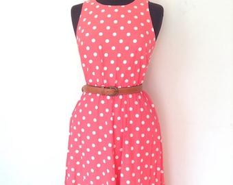 Pink polka dot sleeveless dress. A- line vintage midi dress
