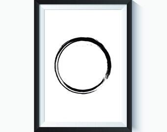 Zen Decor, Brushstroke, Japanese Paint, Zen Art, Zen Wall Decor, Zen Circle, Japanese Art, Japanese Wall Art Decor, Instant Download