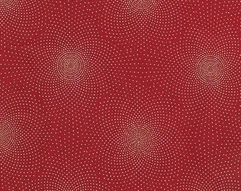 Robert Kaufman - Grand Majolica - SRKM-15835-3 RED - Dots - Red - Metallic Highlights - Delicate - Pindots - One More Yard