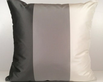 Charcoal, Light Grey, White Pillow, Throw Pillow Cover, Decorative Pillow Cover, Cushion Cover, Accent Pillow, Silk Taffeta, Striped Pillow