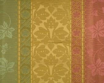 SCALAMANDRE COLONY VERONA Rigato Stripe Damask Fabric 5 Yards Pink Green Gold
