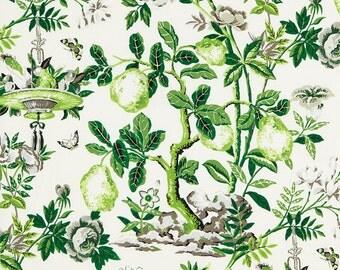 SCALAMANDRE SHANTUNG GARDENS Fruit Butterflies Floral Linen Fabric 10 Yards Verdance