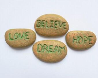 Love Hope Dream Believe concrete inspirational rocks - Fairy garden miniatures - Fairy garden accessories - Garden decor - Fairy rocks
