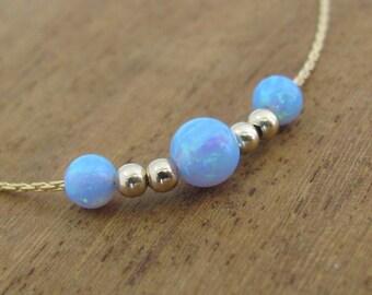 Opal necklace, opal ball necklace, opal gold necklace, opal jewelry, tiny dot necklace, opal bead necklace, fire opal, blue opal necklace
