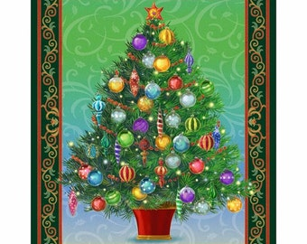 Christmas Tree Quilting Fabric Panel - Green