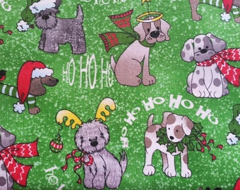 Christmas Dogs on Green Christmas Quilting Fabric - Fat Quarter or Yardage