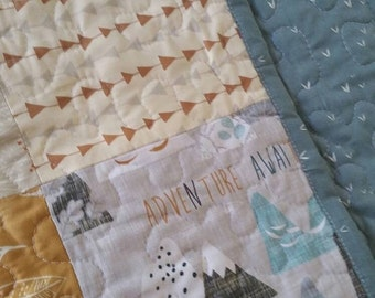 SALE Free Shipping Crib Bedding Baby Boy Patchwork Quilt Woodland Mountains Tribal Arrows Crib Quilt Adventure Awaits