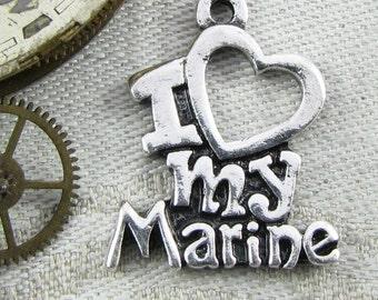 "Set of (2) Silver ""I Love My Marine"" Charms 2 per package CAU073"
