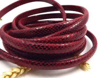 leather licorice bordeaux snake 10 x 6 mm by 20 cm