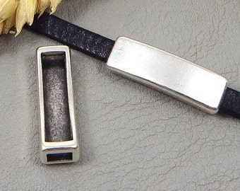 5 past rectangle original smooth leather plated silver for 5mm leather