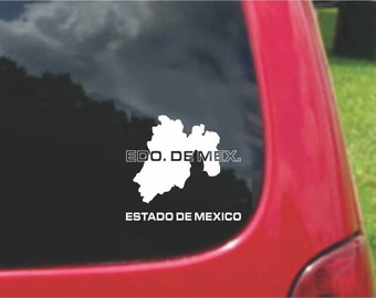 2 Pieces Estado De Mexico Outline Map  Stickers Decals 20 Colors To Choose From.  U.S.A Free Shipping