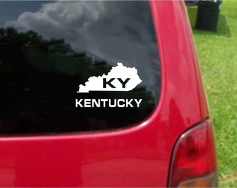 2 Pieces Kentucky KY State USA Outline Map Stickers Decals 20 Colors To Choose From.  U.S.A Free Shipping