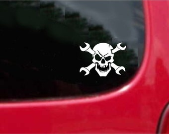 Set (2 Pieces) Wrenches Skull Mechanic Sticker Decals 20 Colors To Choose From.  U.S.A Free Shipping