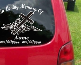 Custom In Loving Memory Vinyl Decal Sticker 20 Colors To Choose From.  U.S.A Free Shipping