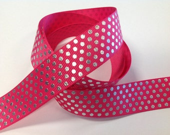 7/8 inch  Hot Pink with  Silver Dots        Printed Grosgrain Ribbon