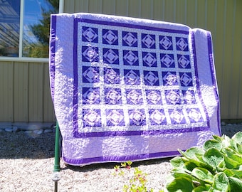Handcrafted twin bed cover purple passion