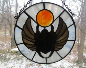 Scarab Egyptian Spiritual Stained Glass Suncatcher